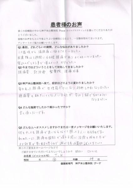 1週間に6日あった偏頭痛が、生理前だけになりました。 神戸市兵庫区 34歳女性