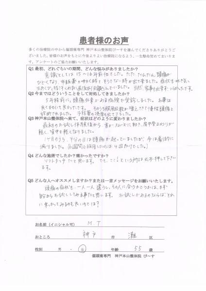 一ヶ月のうち半分の頭痛が、今は劇的に減りました。 神戸市灘区55歳女性