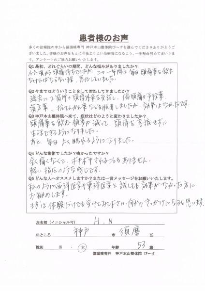 毎日の頭痛薬生活から、頭痛を意識せずに生活できるようになりました。 神戸市須磨区53歳女性