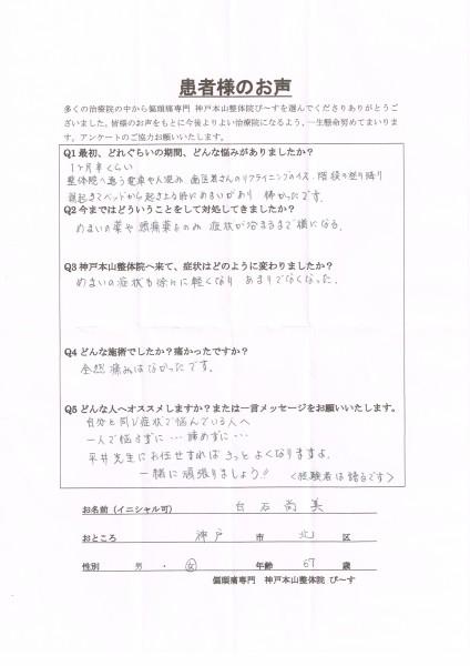 平井先生にお任せすればきっとよくなりますよ。 神戸市北区67歳女性