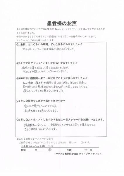 月に2〜3回寝込んでいた偏頭痛がなくなりました。 宝塚市49歳女性