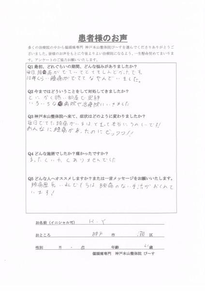 あんなに頭痛があったのにビックリ!! 神戸市灘区21歳女性