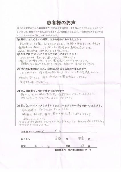 こんなんで治るのかなと思っていましたが、本当に治りました。 京都市中京区38歳女性