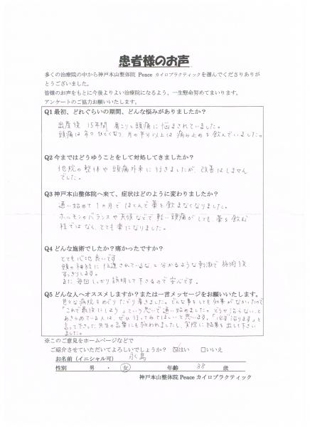 どうせ治らない。とあきらめている人は、ぜひ行って欲しいです。  15年間偏頭痛 神戸市中央区38歳女性